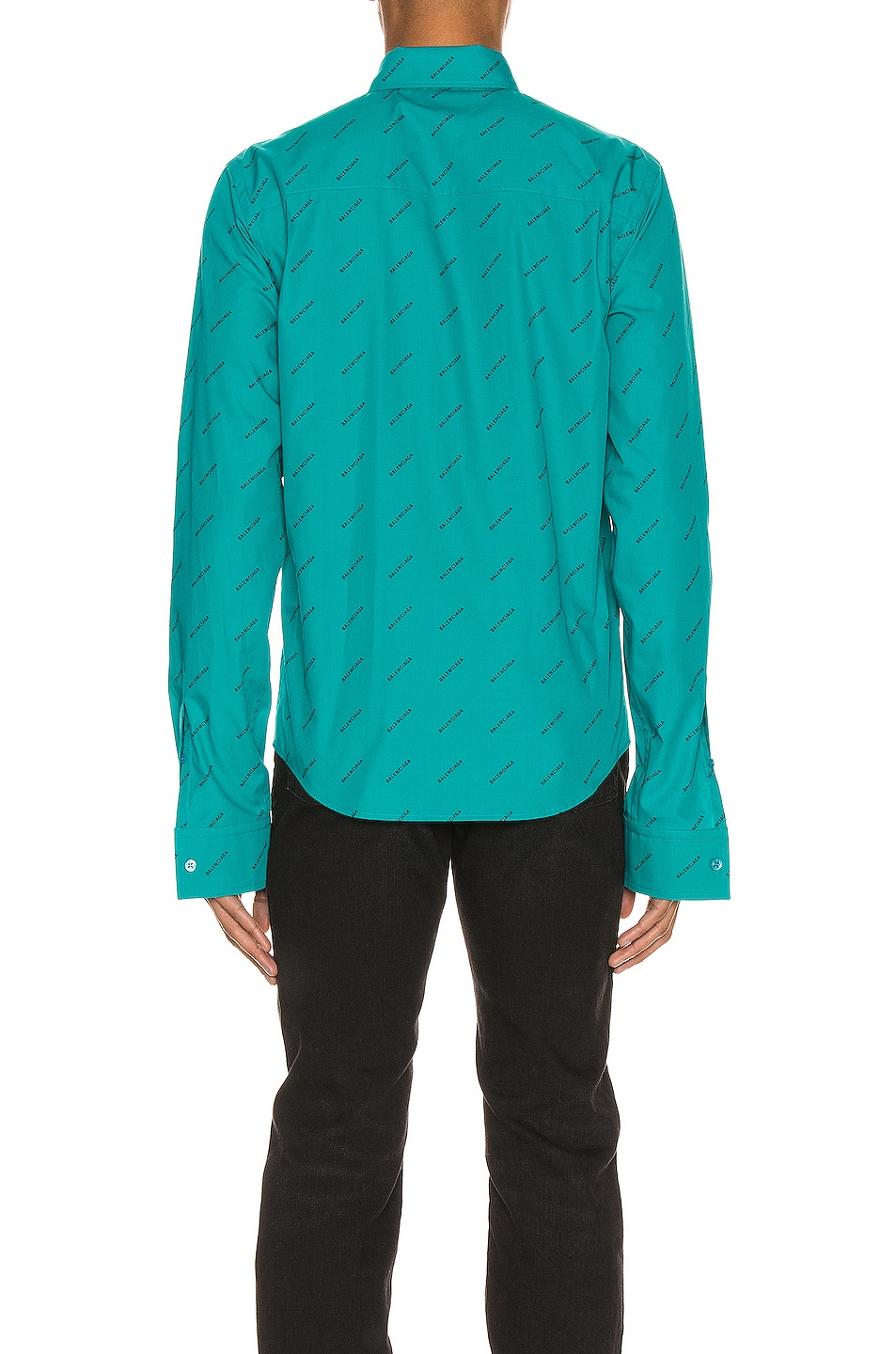 Image 3 of Balenciaga Fitted Shirt in Turquoise & Black