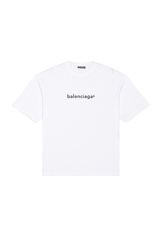 Image 1 of Balenciaga Medium Fit Tee in White & Black