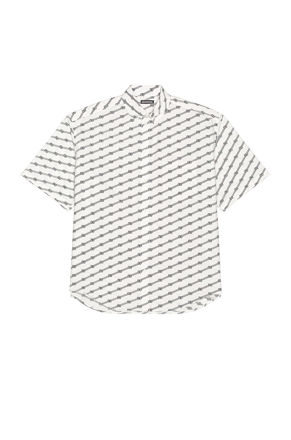 Image 1 of Balenciaga Short Sleeve Large Fit Shirt in White & Black