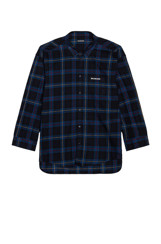 Image 1 of Balenciaga Oversize Shirt in Marine & Black