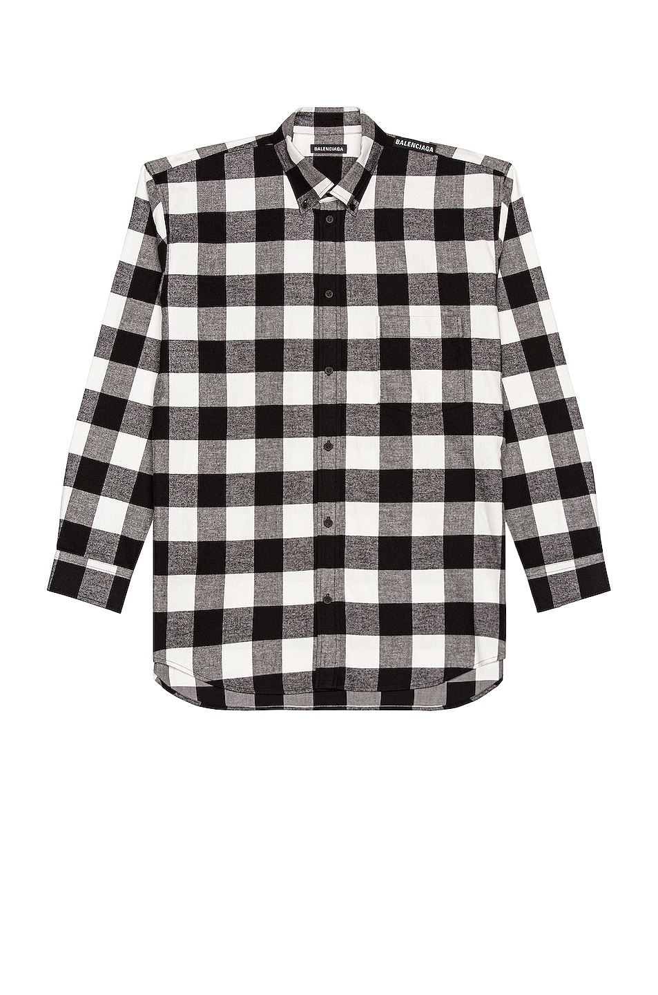 Image 1 of Balenciaga Long Sleeve Tab Shirt in Black & White