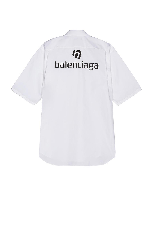 Image 1 of Balenciaga Short Sleeve Logo Shirt in White