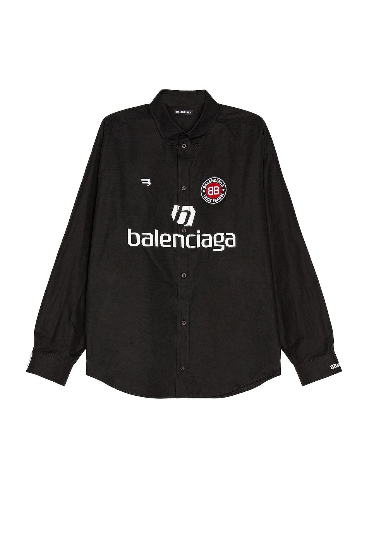 Image 1 of Balenciaga Long Sleeve Soccer Shirt in Black