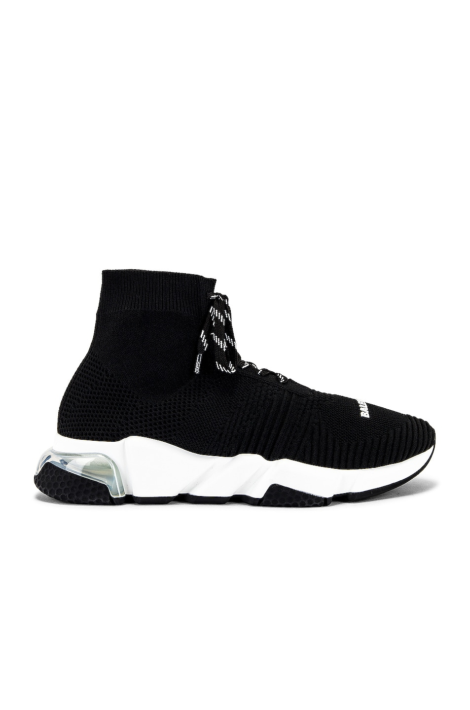 Image 1 of Balenciaga Speed Lace Up Clear Sole Sneaker in Black