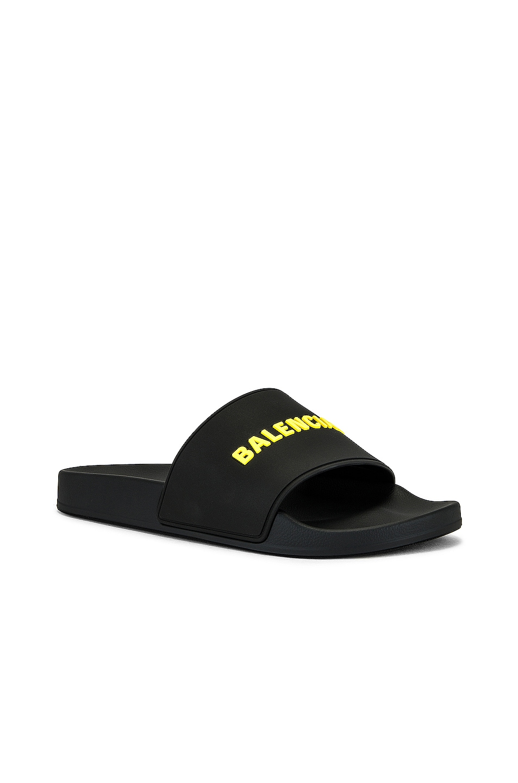 Image 1 of Balenciaga Pool Slide in Black & Fluo Yellow