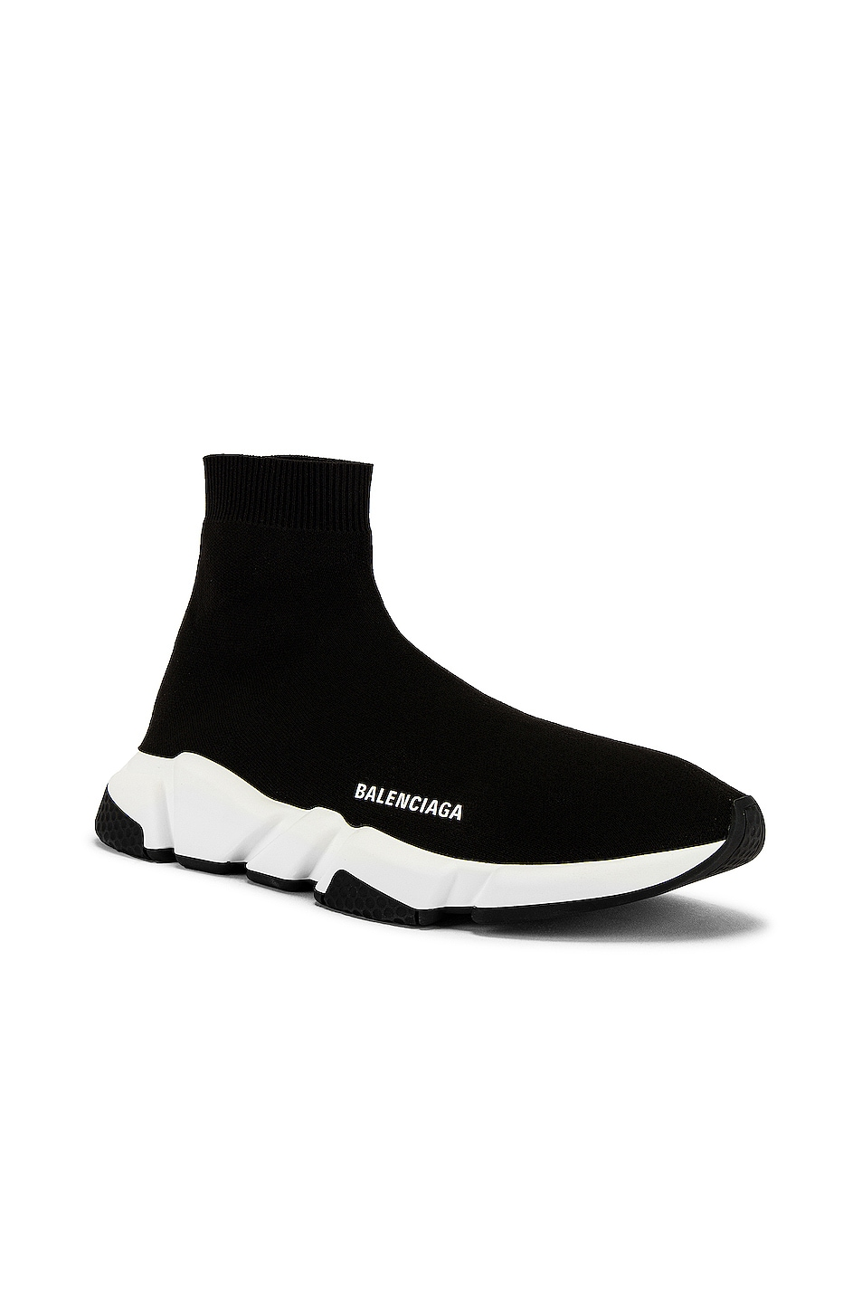Image 2 of Balenciaga Speed Light Knit Sneaker in Black & White