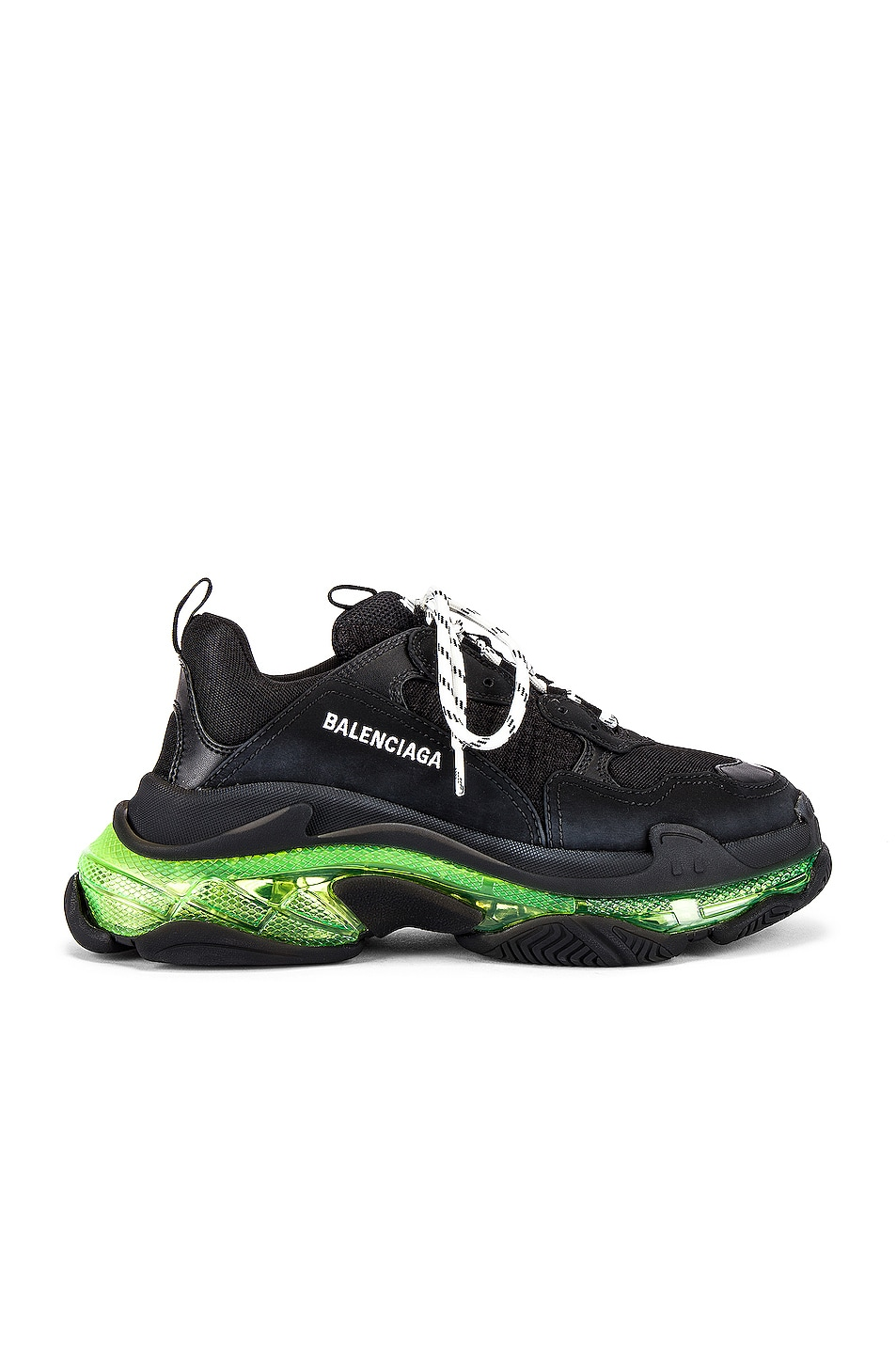 Image 1 of Balenciaga Triple S Clear Sole in Black & Yellow Fluo