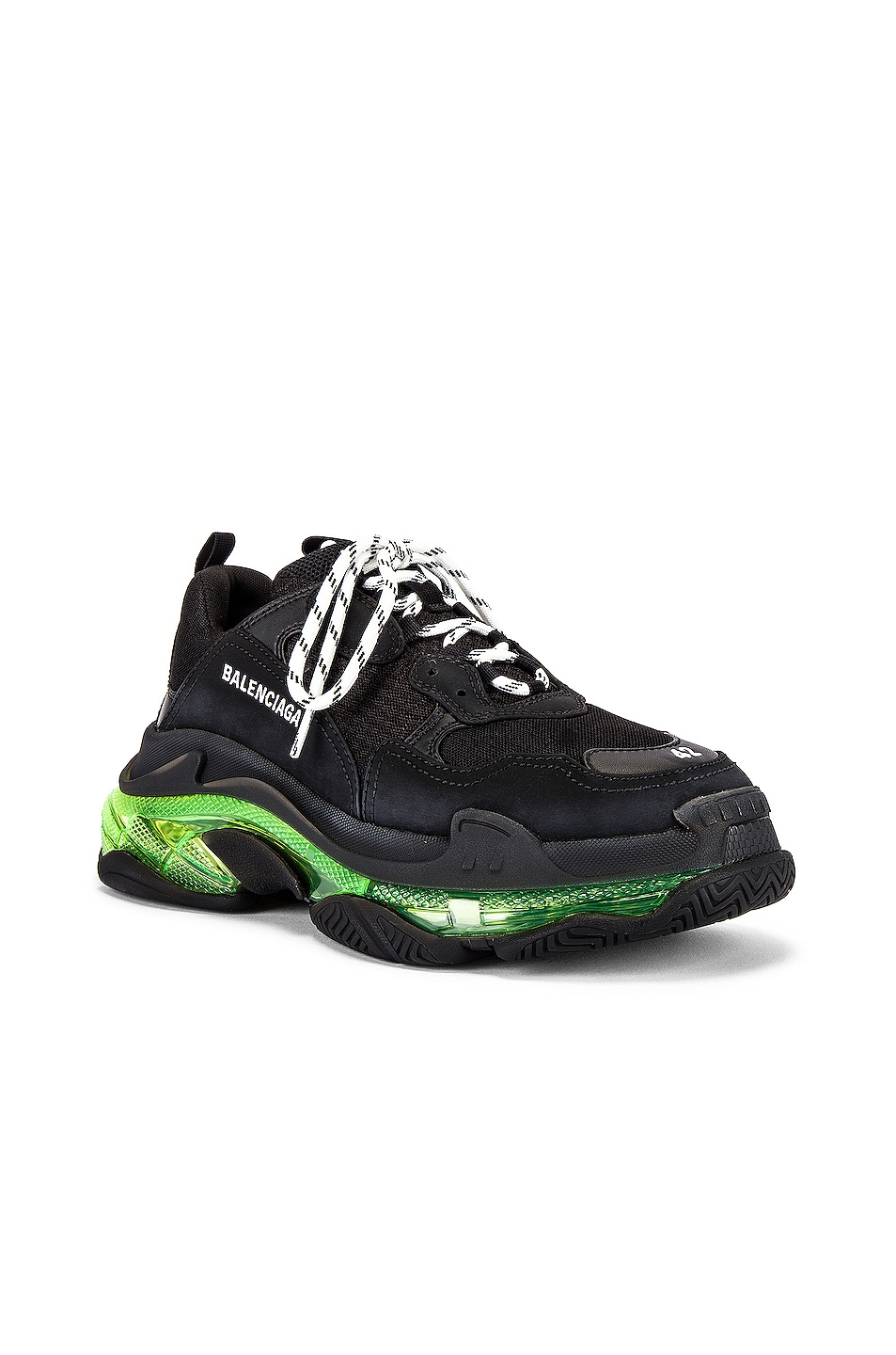 Image 2 of Balenciaga Triple S Clear Sole in Black & Yellow Fluo