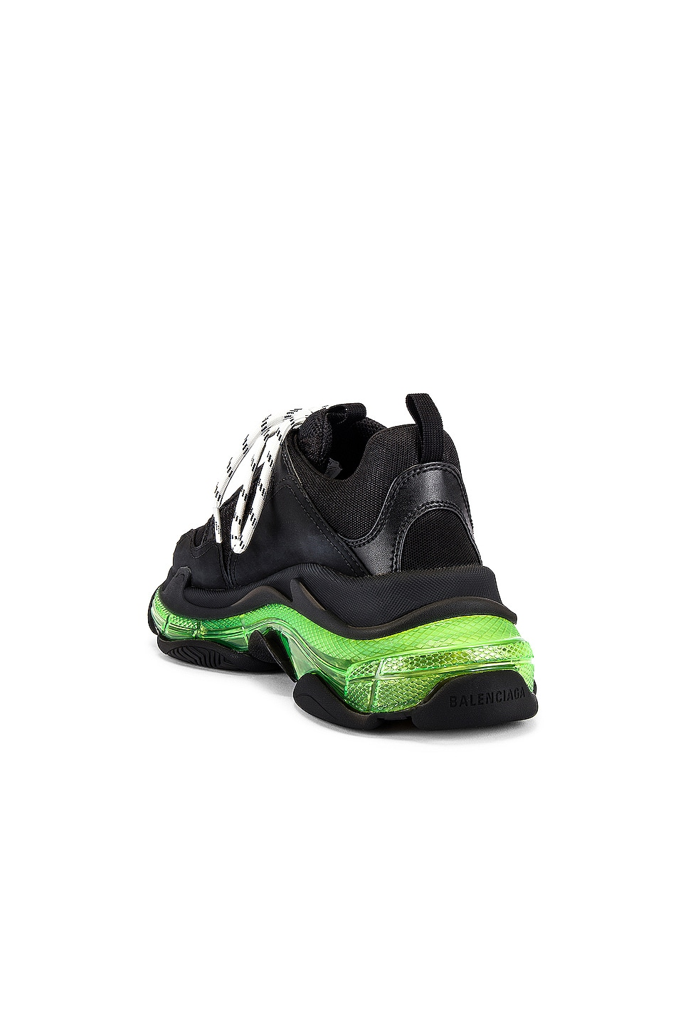 Image 3 of Balenciaga Triple S Clear Sole in Black & Yellow Fluo