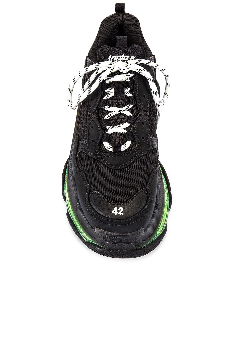 Image 4 of Balenciaga Triple S Clear Sole in Black & Yellow Fluo