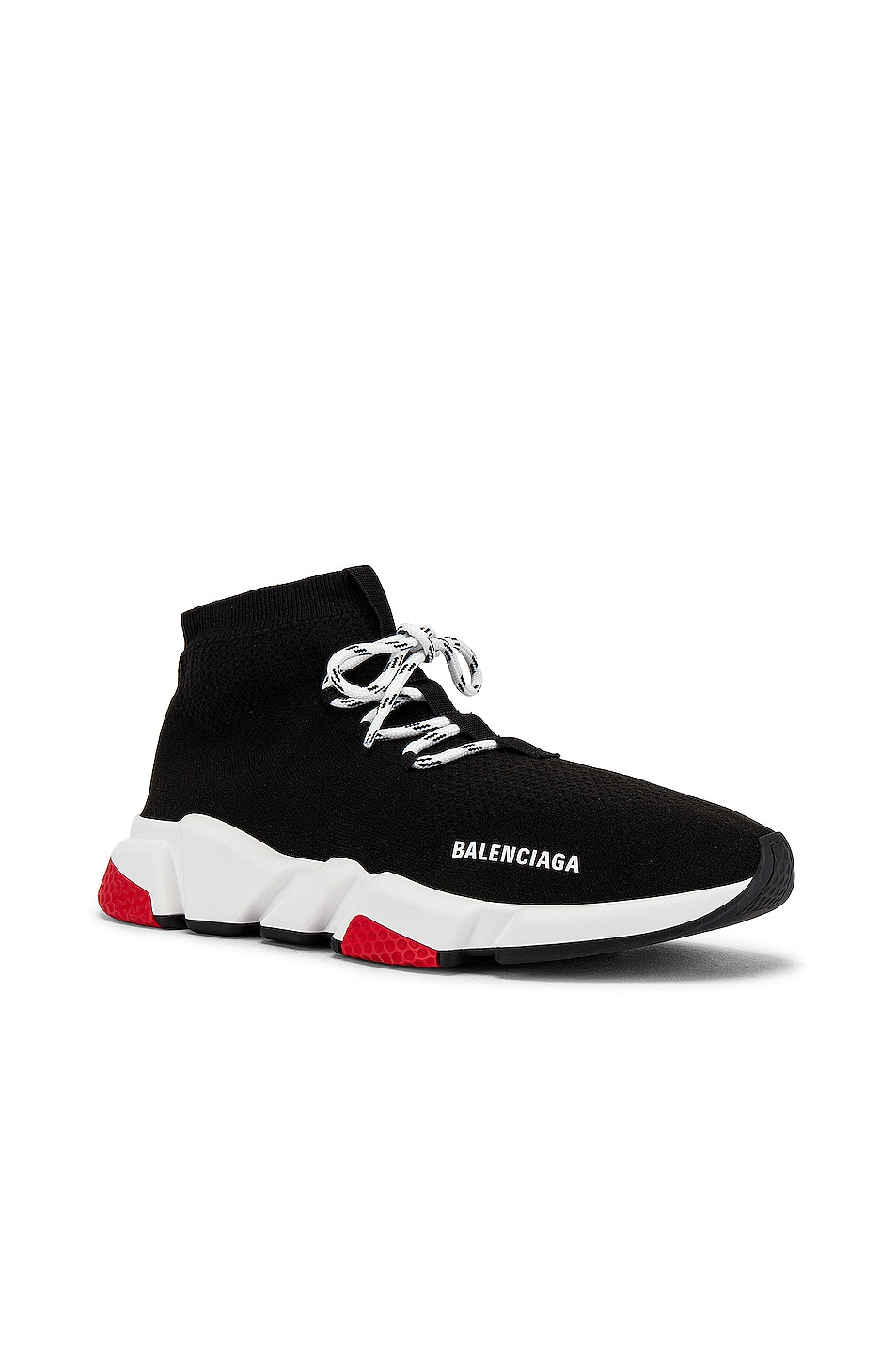 Image 1 of Balenciaga Speed Light Sneaker Lace Up in Black & White & Red & Black