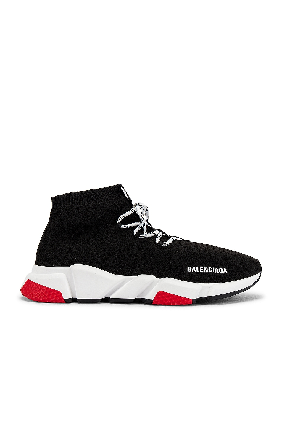 Image 2 of Balenciaga Speed Light Sneaker Lace Up in Black & White & Red & Black