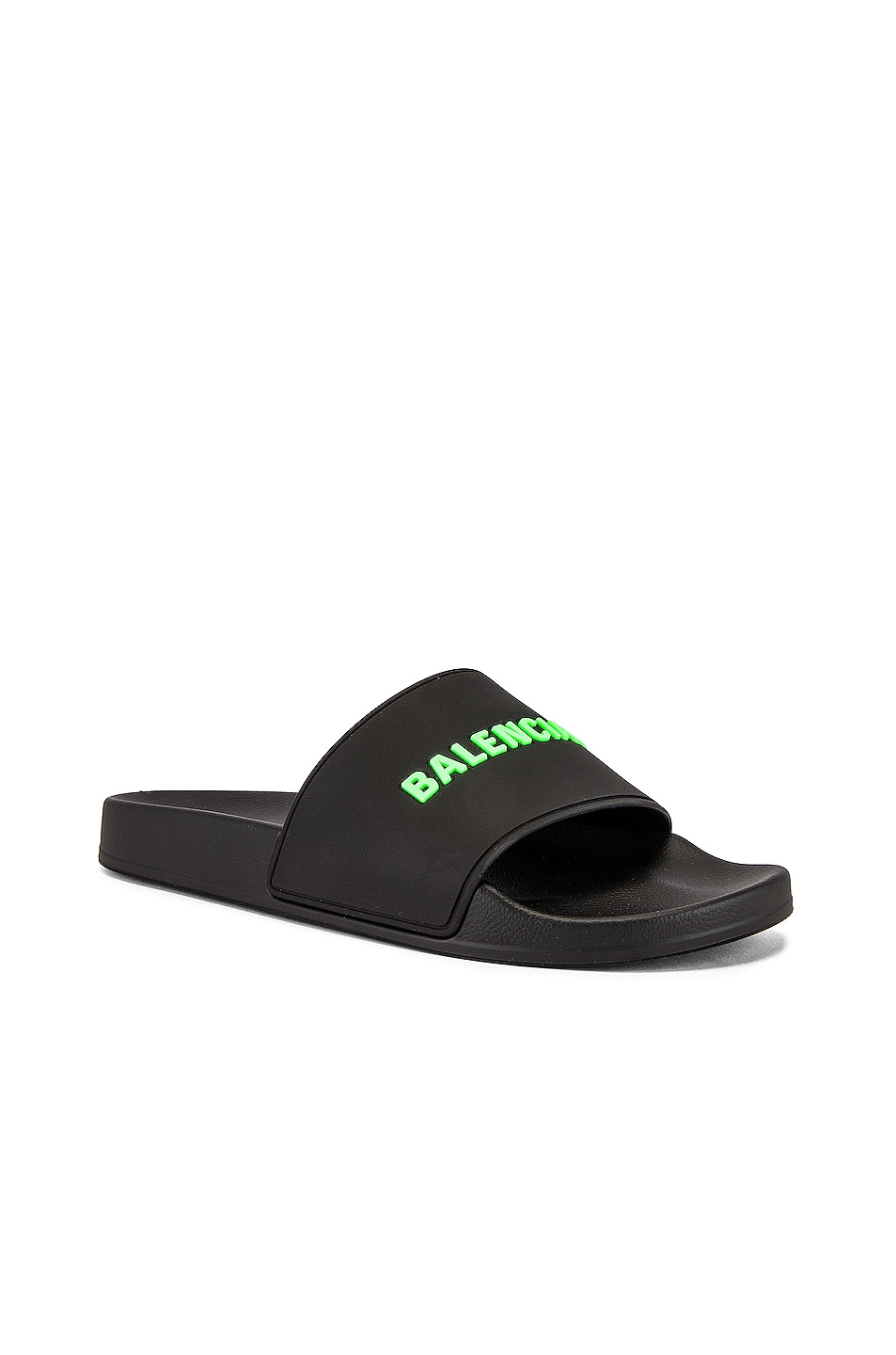 Image 1 of Balenciaga Rubber Logo Pool Slide in Black & Fluo Green