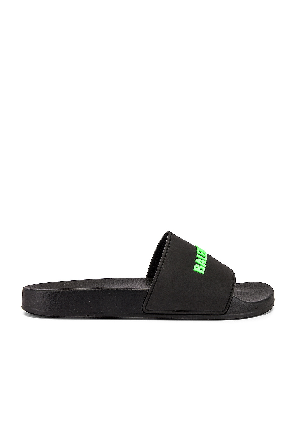 Image 2 of Balenciaga Rubber Logo Pool Slide in Black & Fluo Green