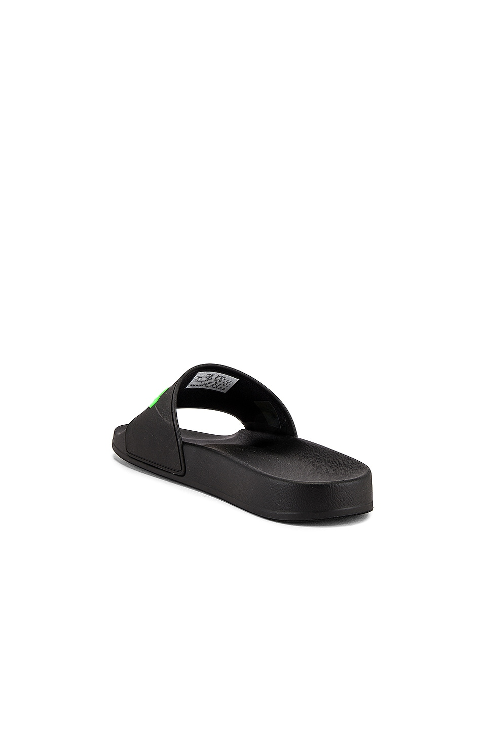 Image 3 of Balenciaga Rubber Logo Pool Slide in Black & Fluo Green