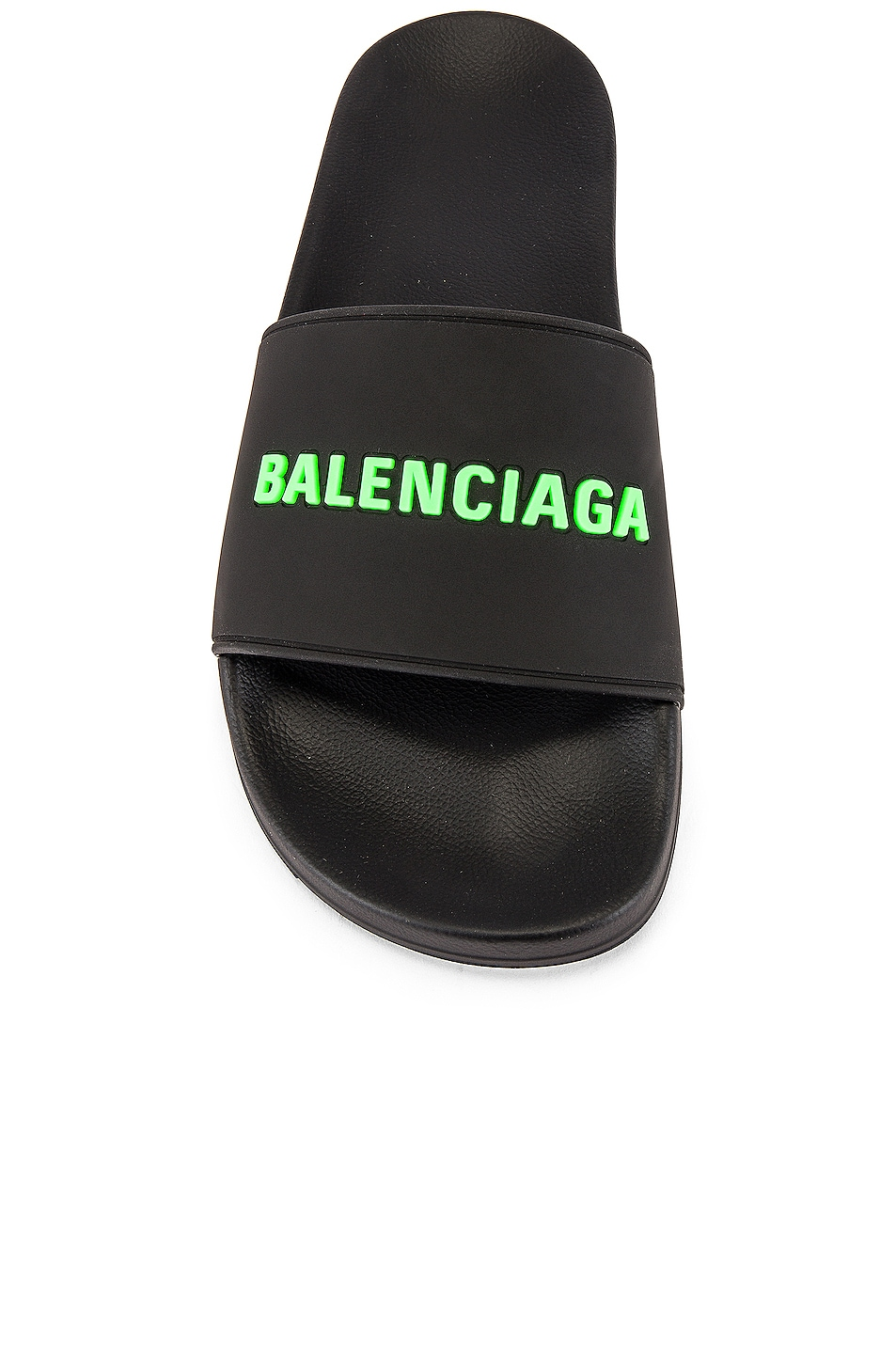 Image 4 of Balenciaga Rubber Logo Pool Slide in Black & Fluo Green
