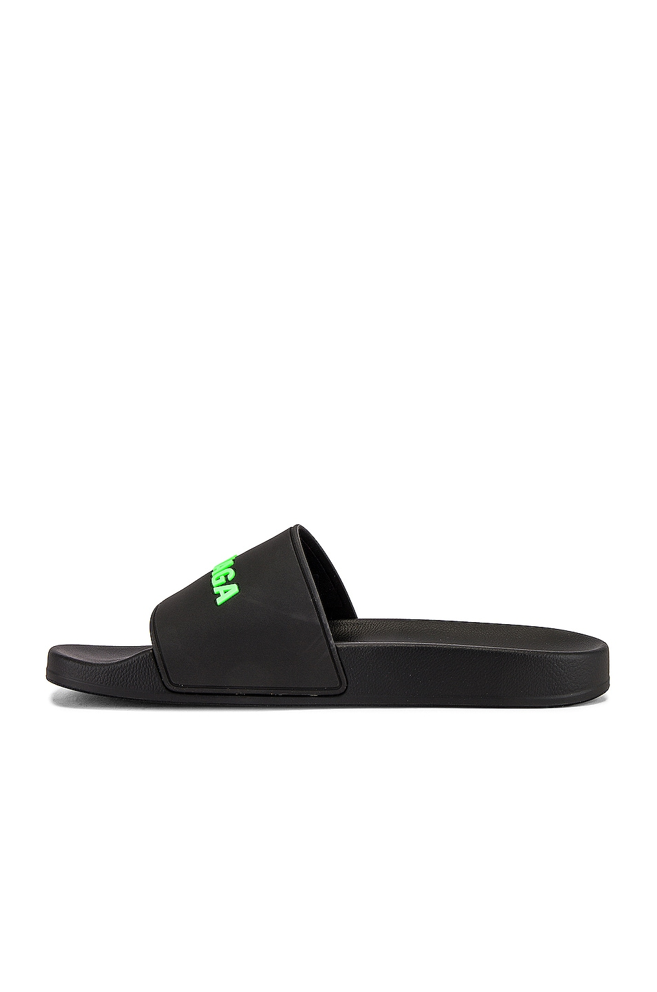 Image 5 of Balenciaga Rubber Logo Pool Slide in Black & Fluo Green