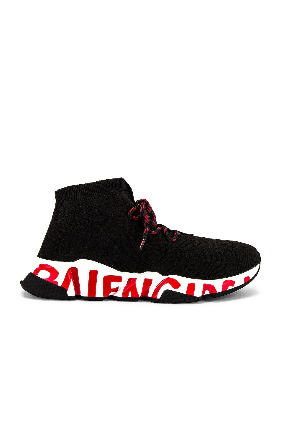 Image 1 of Balenciaga Speed Lace-Up Sneaker in Black & Black & White
