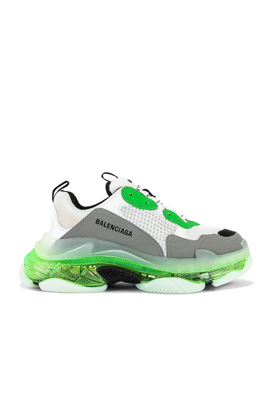 Image 1 of Balenciaga Triple S Clear Sole in White & Green & Grey