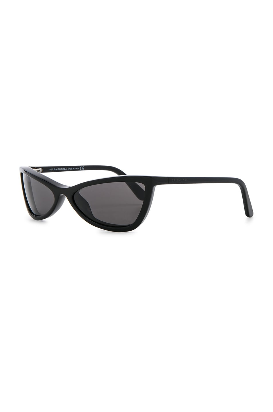 Image 2 of Balenciaga Slim Cateye Sunglasses in Shiny Black with Smokey Lense