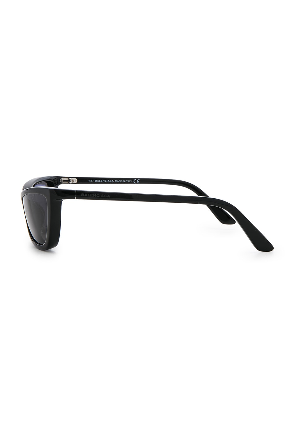 Image 3 of Balenciaga Slim Cateye Sunglasses in Shiny Black with Smokey Lense