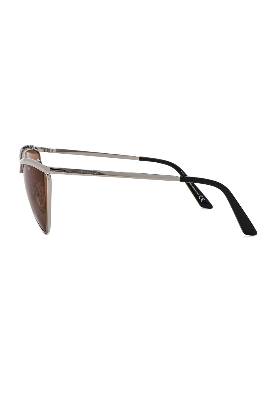 Image 3 of Balenciaga Cat Eye Sunglasses in Silver & Vintage Brown