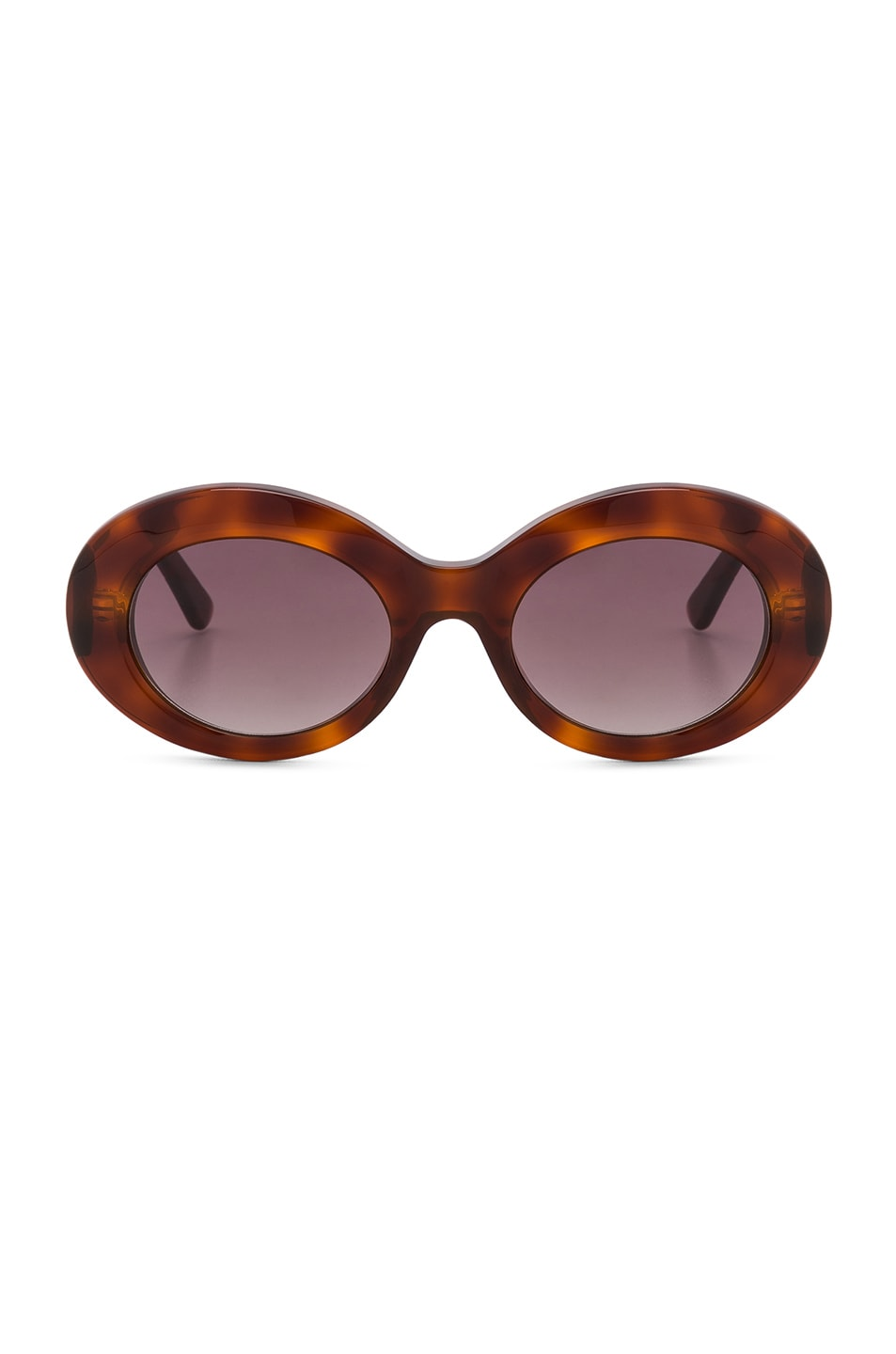 Image 1 of Balenciaga Oval Sunglasses in Blonde Havana & Burgundy