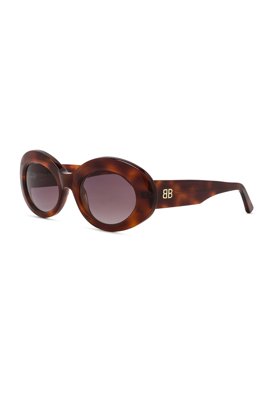 Image 2 of Balenciaga Oval Sunglasses in Blonde Havana & Burgundy