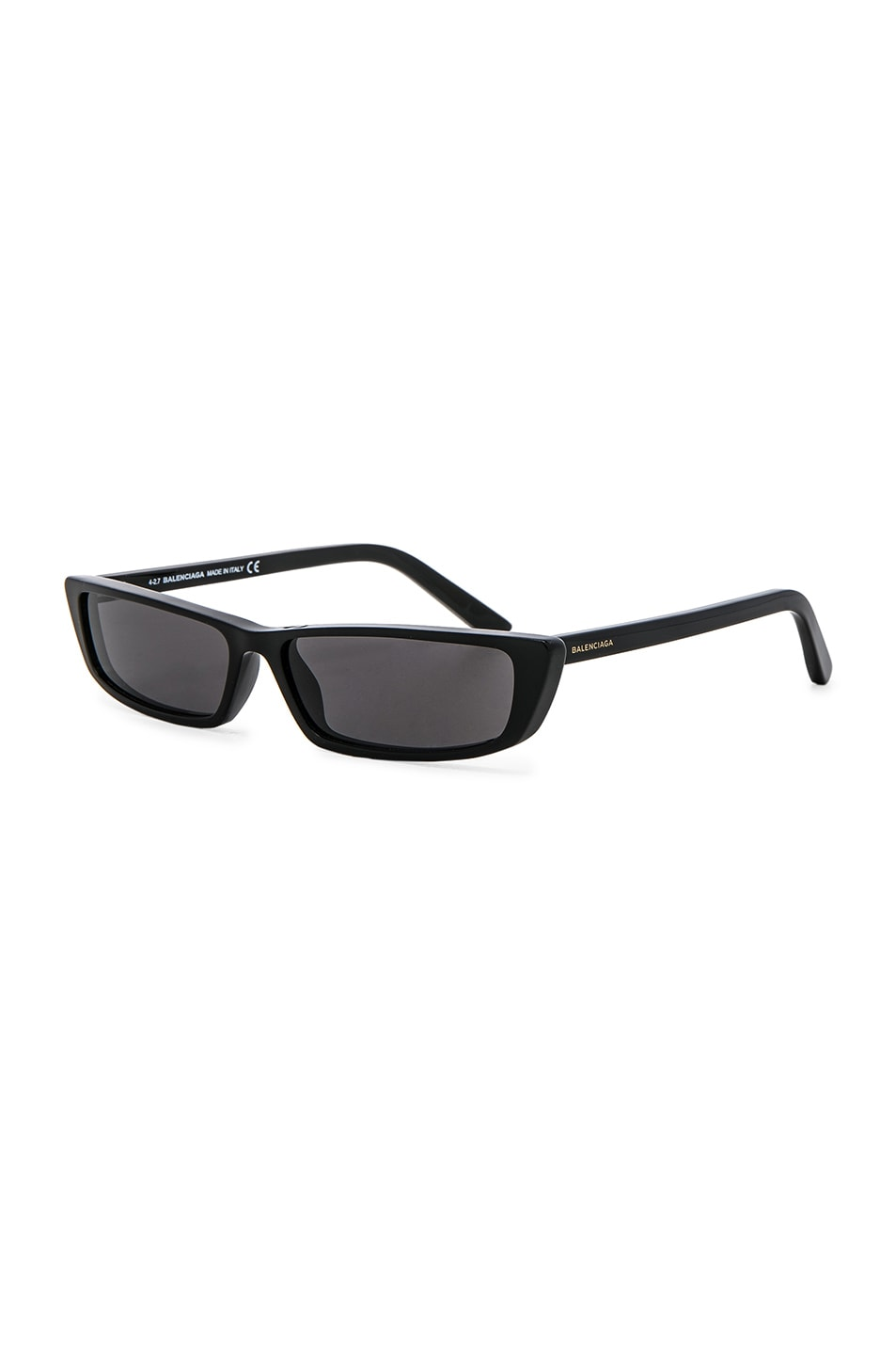 Image 2 of Balenciaga Narrow Cat Eye Sunglasses in Shiny Black & Smoke Lenses