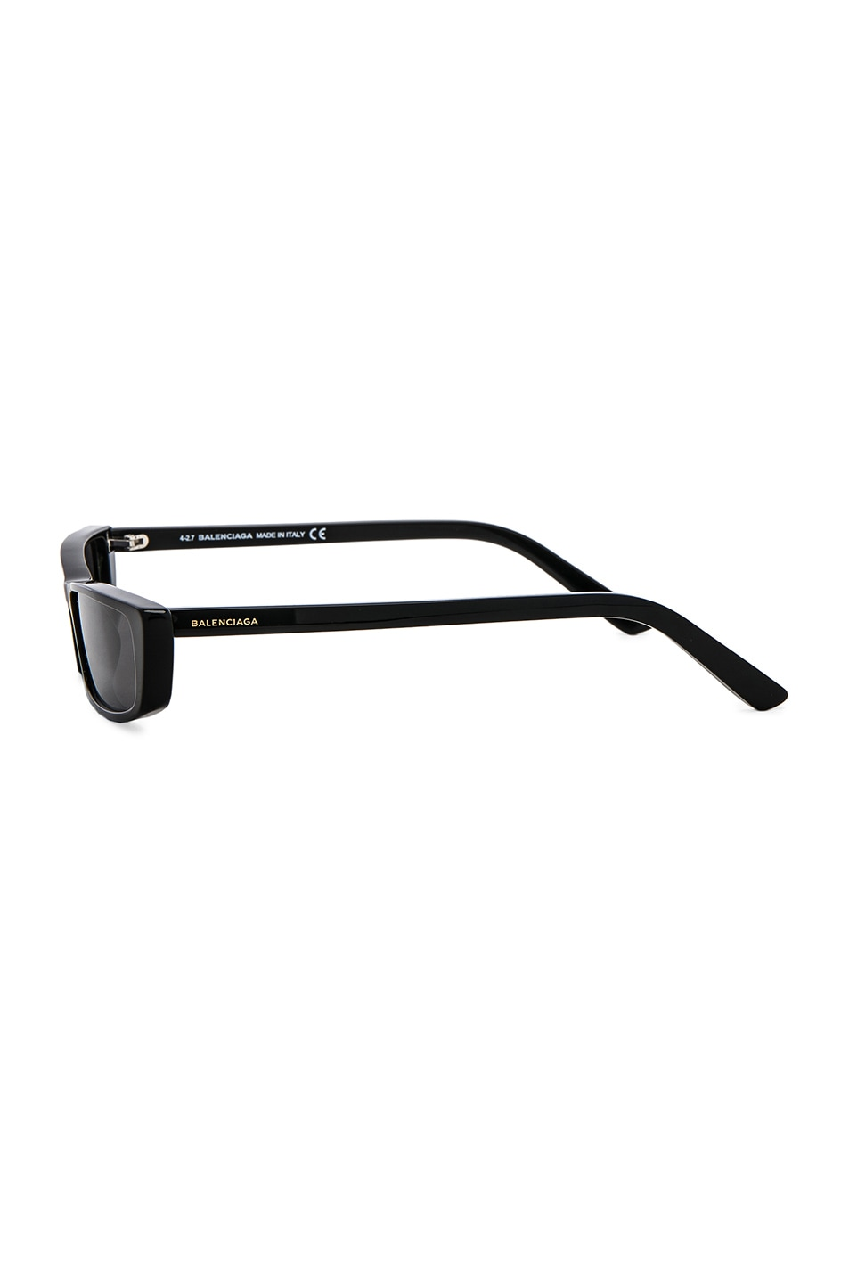 Image 3 of Balenciaga Narrow Cat Eye Sunglasses in Shiny Black & Smoke Lenses