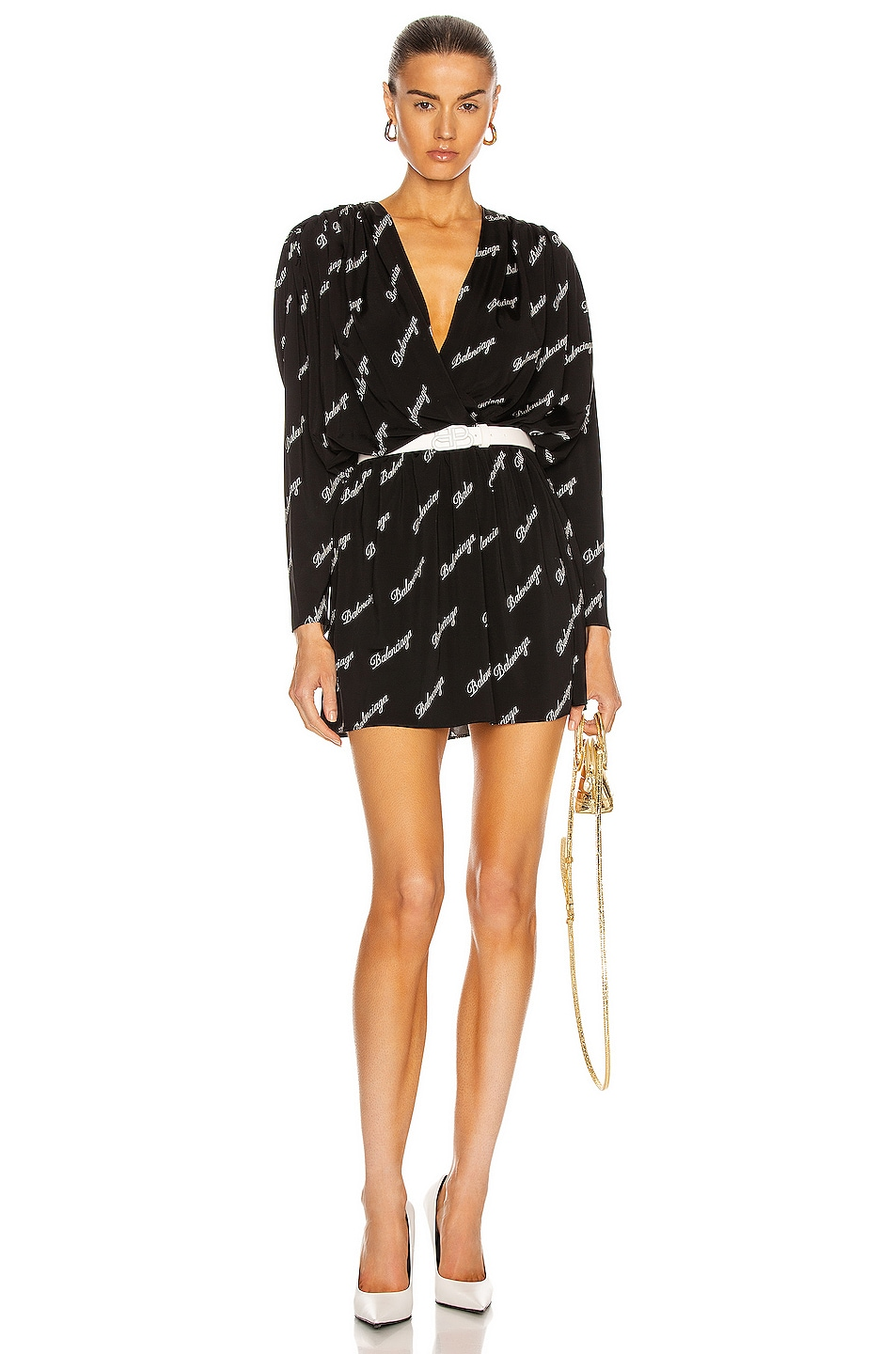 Image 1 of Balenciaga Mini Logo Dress in Black & White