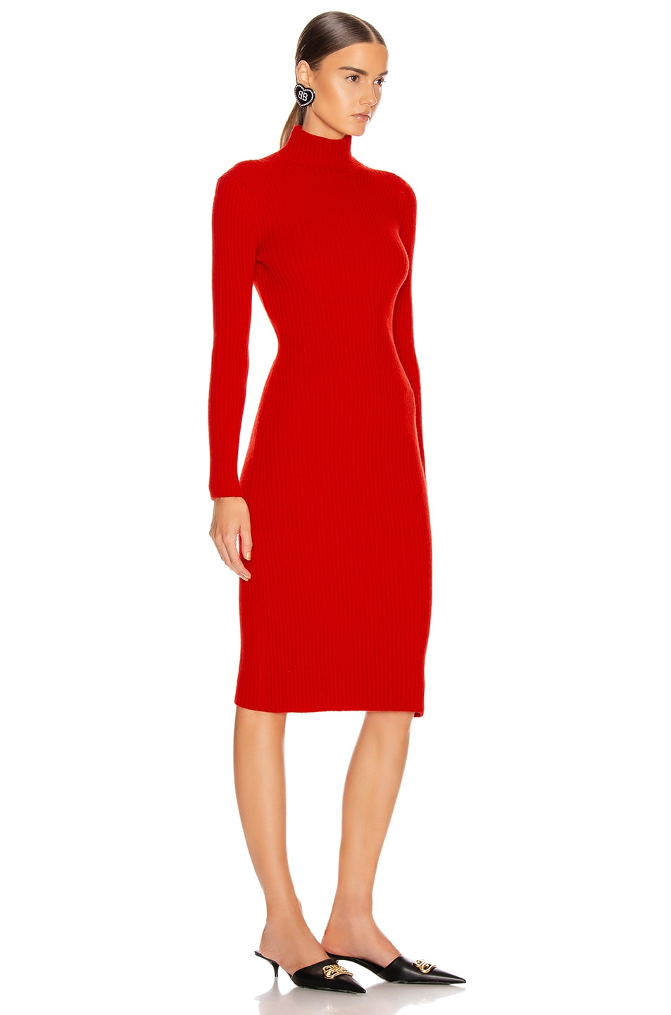 Image 2 of Balenciaga Long Sleeve Turtleneck Dress in Red