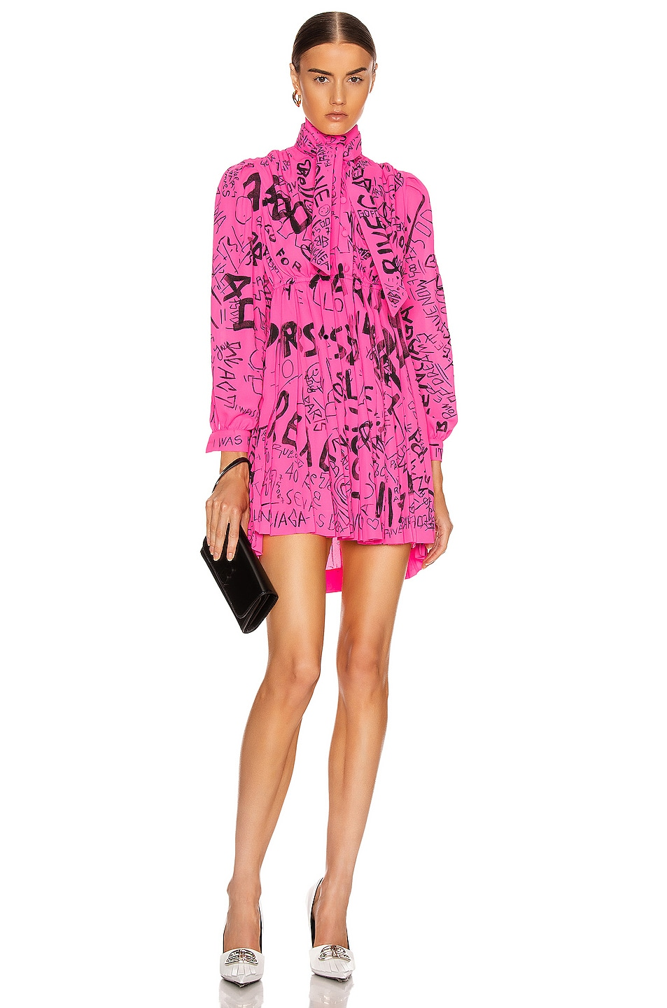 Image 1 of Balenciaga Pleated Babydoll Dress in Fluo Pink