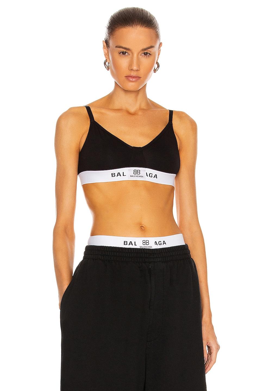 Image 1 of Balenciaga Patch Sport Bra in Black