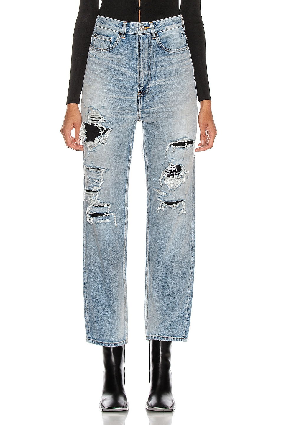 Image 1 of Balenciaga Ripped Regular Jean in Dirty Light Vintage Blue