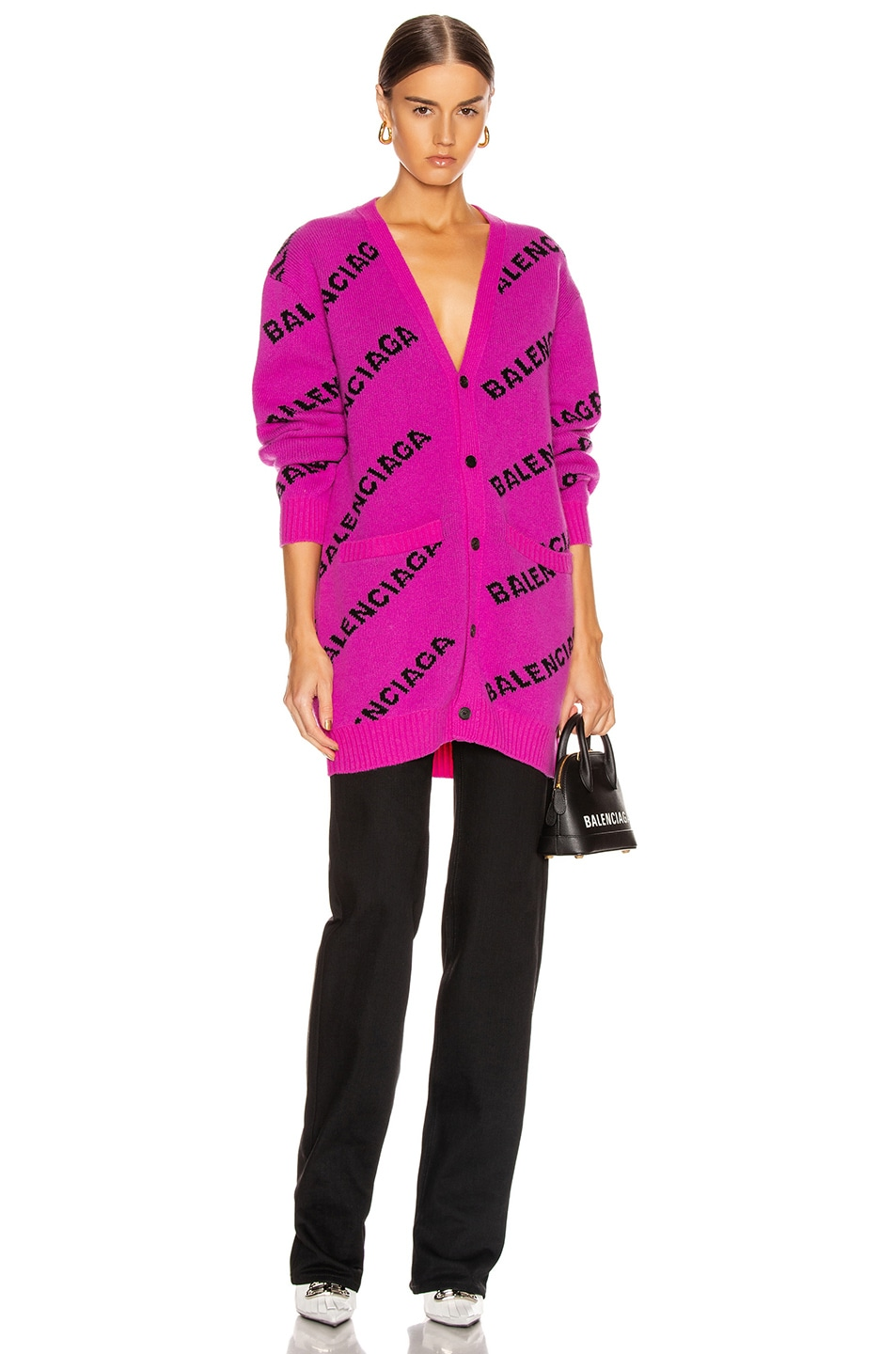 Image 1 of Balenciaga Long Sleeve Logo Cardigan in Pink & Black
