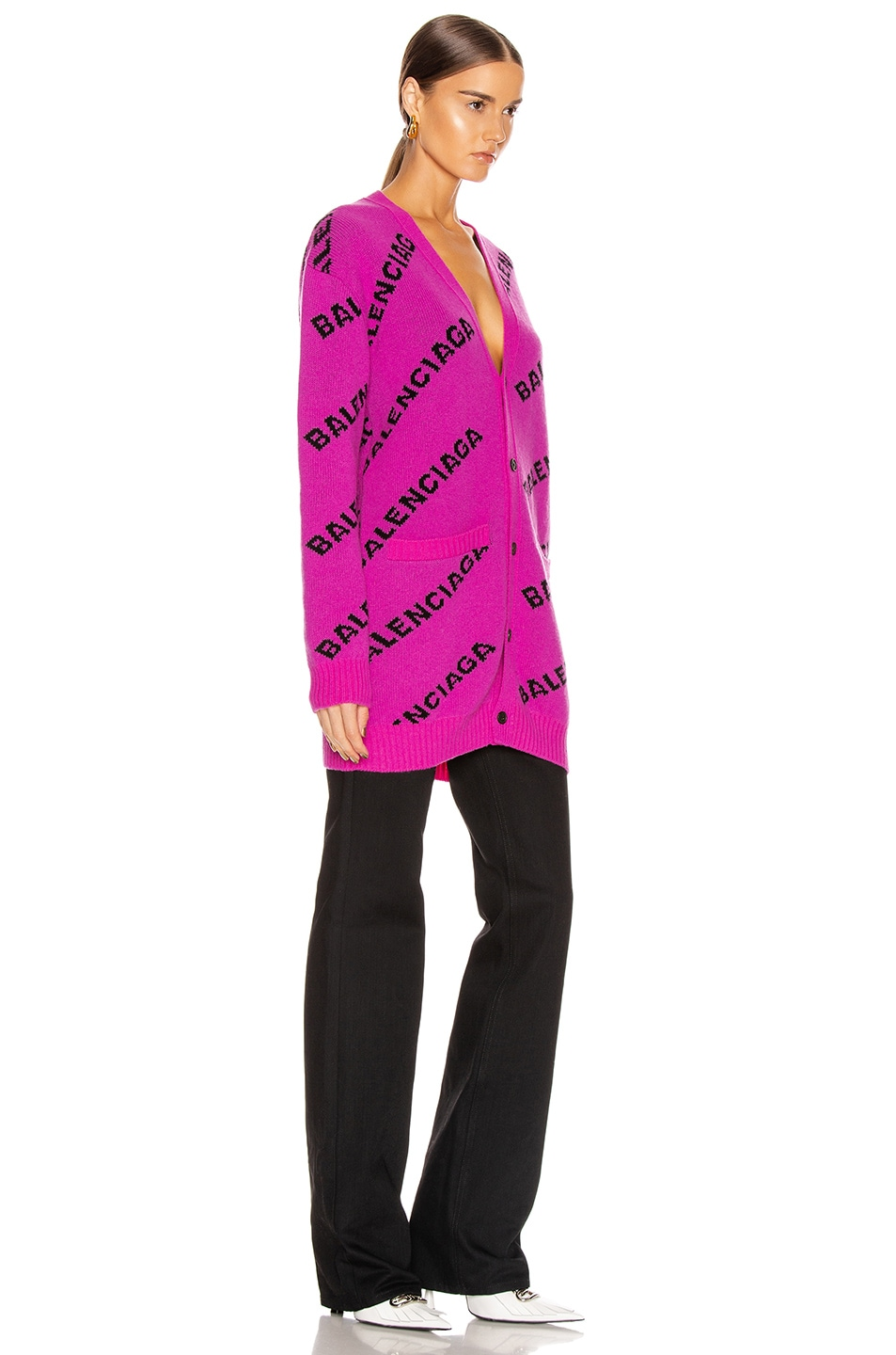 Image 2 of Balenciaga Long Sleeve Logo Cardigan in Pink & Black