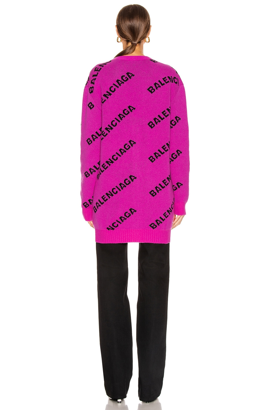Image 3 of Balenciaga Long Sleeve Logo Cardigan in Pink & Black