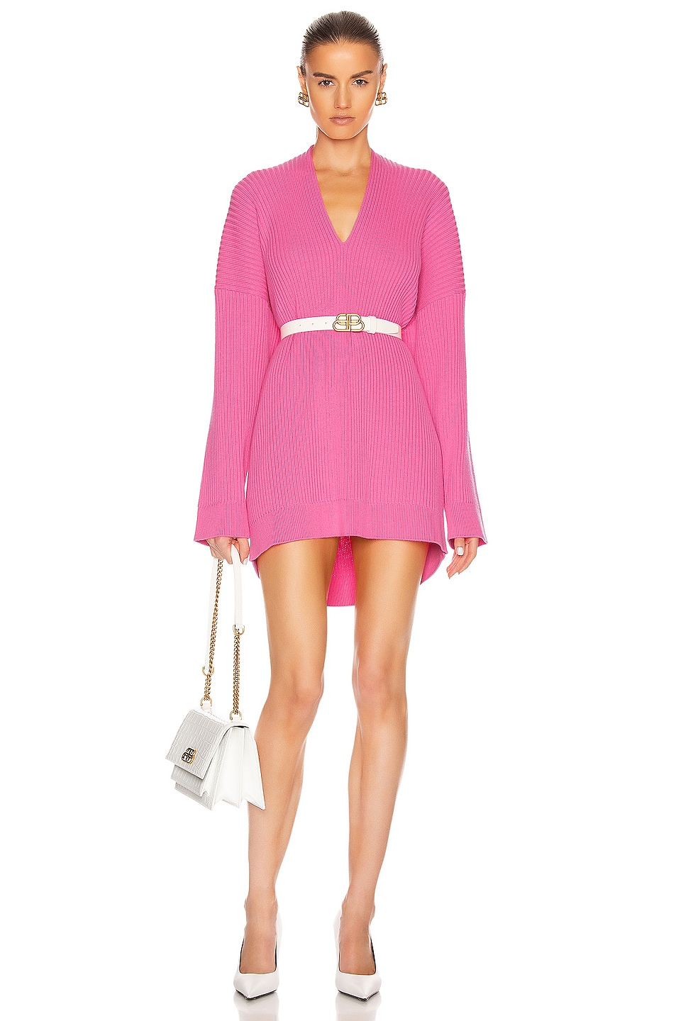 Image 1 of Balenciaga Long Sleeve Slit Sweater in Ultra Pink