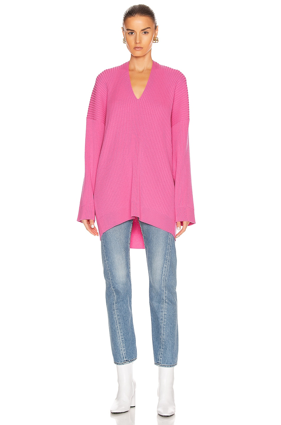 Image 2 of Balenciaga Long Sleeve Slit Sweater in Ultra Pink