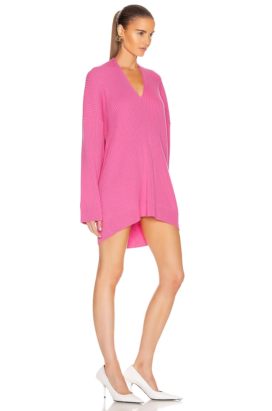 Image 3 of Balenciaga Long Sleeve Slit Sweater in Ultra Pink