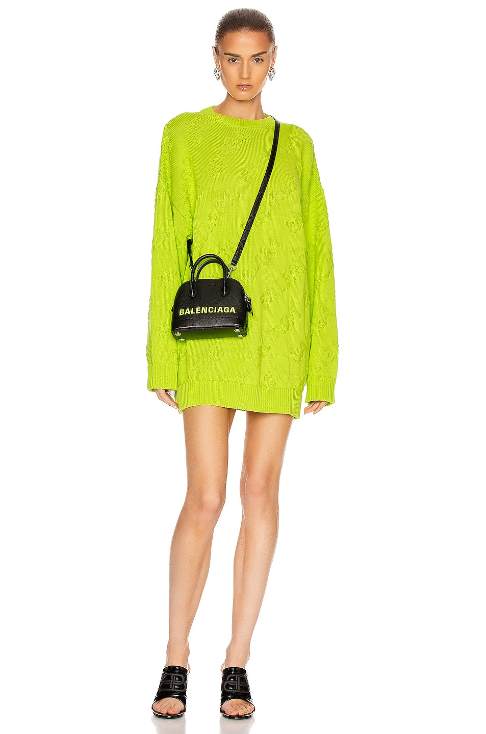 Image 2 of Balenciaga Long Sleeve Logo Crewneck Sweater in Lime