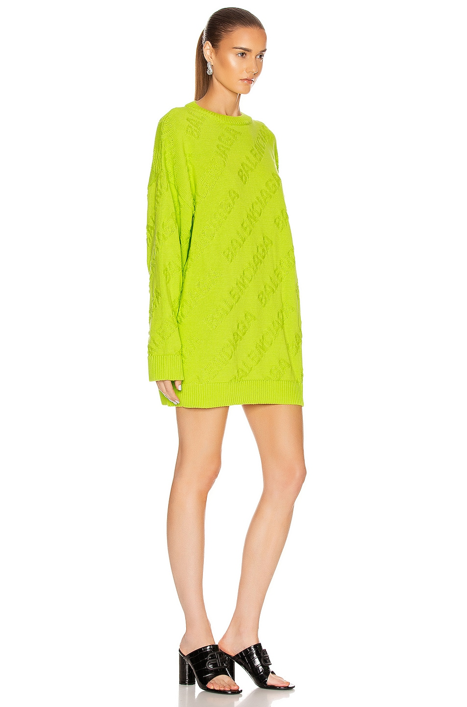Image 3 of Balenciaga Long Sleeve Logo Crewneck Sweater in Lime