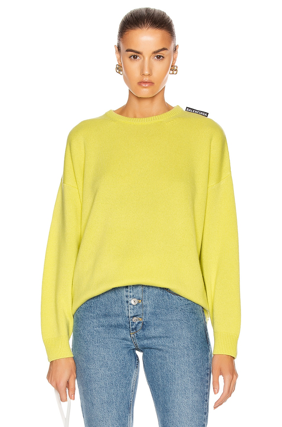 Image 1 of Balenciaga Long Sleeve Crewneck Sweater in Lime