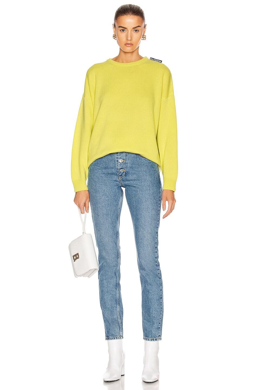 Image 4 of Balenciaga Long Sleeve Crewneck Sweater in Lime
