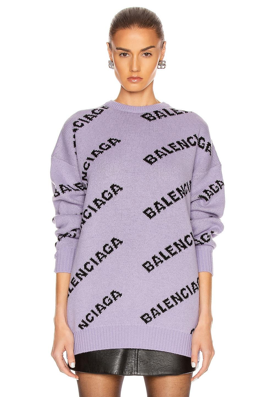 Image 2 of Balenciaga Logo Long Sleeve Crewneck Sweater in Lilac & Black