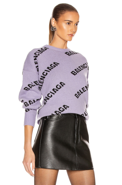 Image 3 of Balenciaga Logo Long Sleeve Crewneck Sweater in Lilac & Black