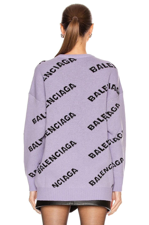 Image 4 of Balenciaga Logo Long Sleeve Crewneck Sweater in Lilac & Black