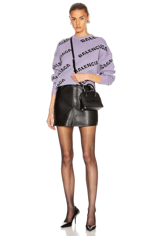 Image 5 of Balenciaga Logo Long Sleeve Crewneck Sweater in Lilac & Black