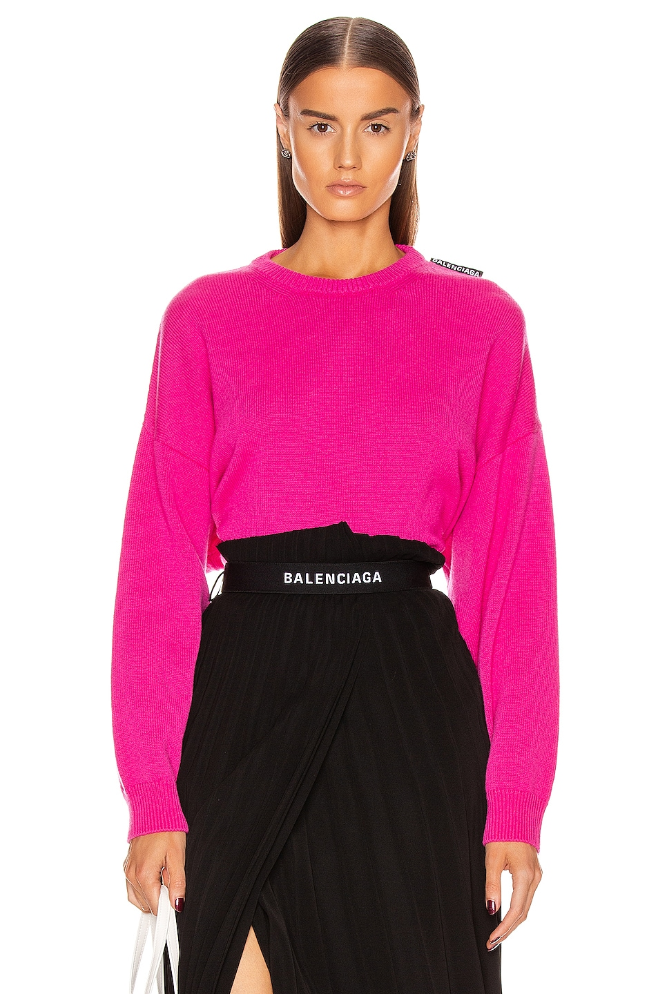 Image 1 of Balenciaga Long Sleeve Crew Neck Sweater in Shocking Pink